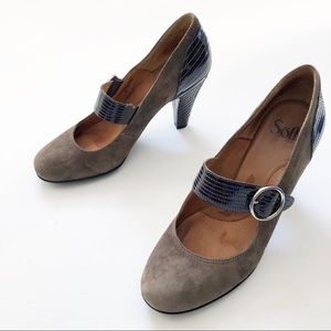 Sofft Suede Mary Jane Heels 9.5 tan brown leather